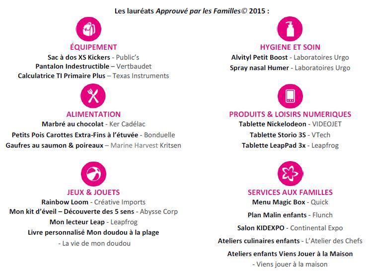 Lauréats Approuvé par les Familles 2015